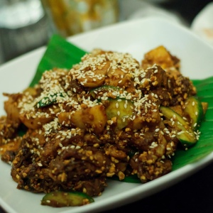 Rojak is a very delicious Singapore cusine with ingredients such as fried dough (youtiao), cucumbers, pineapple, cuttlefish, lotus, apple, deep fried tofu (taupok), peanuts and bean sprouts mix together.