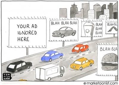 Bombardment of Advertisements make us Ignore them much more. (Credits: Tom Fishburne)