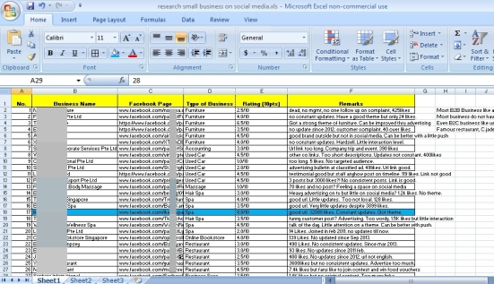 A screenshot of my research on small business social media pages.