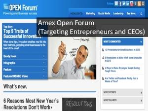 Screenshot taken from AMEX Open Forum website